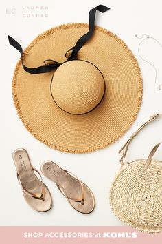 Summer is almost here—accessorize accordingly! This chic sun hat is a definite staple this season. Pair it with a T-shirt and jeans or a cute dress for versatile, adorable looks. Plus, find other outfit completers like metallic sandals, woven purses, dainty necklaces and so much more. Shop summer accessories and more from LC Lauren Conrad at Kohl's and Kohls.com. #summerstyle #lclaurenconrad Lauren Conrad Collection, Metallic Sandals, Other Outfits, Summer Accessories, Vacation Outfits, T Shirt And Jeans, Dainty Necklace, Lc Lauren Conrad, Kohls