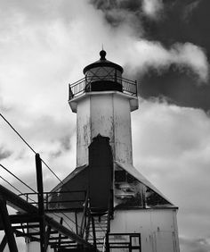 St Joseph Pier Lighthouse Black And White By Dan Sproul