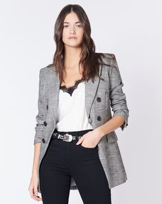 Our Fortuna Dickey Jacket is tailored to perfection. Enjoy free ground shipping on all US orders. Disney Movie Characters, Veronica Beard, Friendship Bracelet Patterns, Interiores Design, Jacket Style, Blazer, Suits, Black And White, Denim