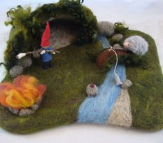 Secret Cave Needle Felted Play Mat