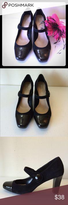 "Franco Sarto Heels, 7.5 Black pumps, 3"" heels, comfortable, size 7.5, suede upper material, sticker residue on one shoe. Franco Sarto Shoes Heels"