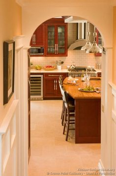 Traditional Dark Wood (Cherry) Kitchen Cabinets #07 (Crown Point.com