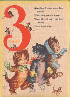 Vintage Three Little Kittens Print, Baby Nursery Decor, Number 3 x 14 Storybook Page w/ Mat). via Etsy.