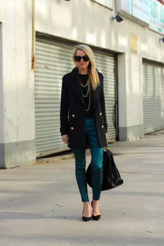 Work Wardrobe. Black wool coat, black sweater with gold long layered necklaces and cropped jeans. Black point heels, sunglasses and bag. Bit more casual. Winter, Fall, Autumn.