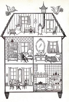 Doll house illustration from Children's Book Colouring Pages, Adult Coloring Pages, Coloring Books, House Illustration, Illustrations, House Drawing, Little Houses, Paper Dolls, Paper Doll House