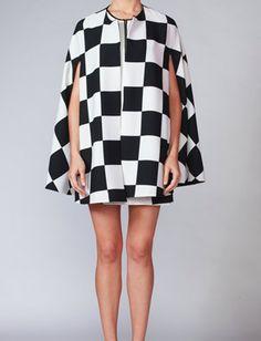 Simona, Black & Off White Check Cape