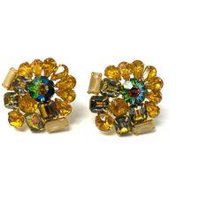 Clip Earrings, Gold Earrings, Vintage Clip, Aurora Borealis, Rhinestones, Beige, Amp, Jewelry, Products
