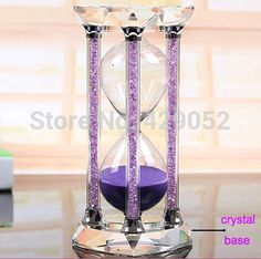 1314 seconds crystal diamond sandglass Purple color sand timer, christmas gifts/birthday gifts(China (Mainland))