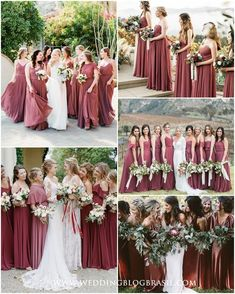 7 Tendências de Cores de Vestidos de Madrinhas para 2019 - Wedding blog Brasil Wedding Color Pallet, Wedding Color Schemes, Wedding Colors, Wedding Ideas, Wedding Stuff, Wedding Blog, Wedding Photos, Wedding Inspiration, Maroon Wedding