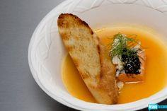 Brooke Williamson's Sockeye Salmon & Seafood Broth with Mustard Seed Caviar & Dill Sourdough