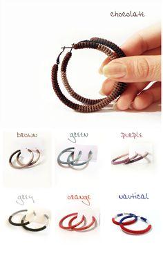Hoop Earrings - Crochet Tube Hoops - Choose your color by vanessahandmade on Etsy https://www.etsy.com/listing/219500043/hoop-earrings-crochet-tube-hoops-choose