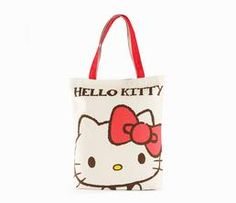 Hello Kitty Canvas Tote Bag: Close Up