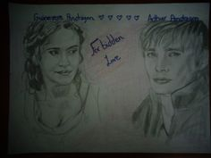 This is a drawing of Gwen and Arthur Pendragon from Merlin, that I @HannahJackfield did!  I think it turned out pretty good! It took me like forever!