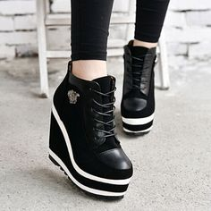 womens-lady-high-platform-wedge-lace-Up-ankle-boots-goth-causal-black-white-shoe