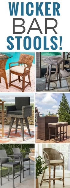 Discover the top-rated wicker barstools for your beach home. If you want to create a tiki bar this summer, wicker bar stools are a wonderful option. Short Bar Stools, Cool Bar Stools, Bar Stools With Backs, Outdoor Tiki Bar, Outdoor Bar Stools, Outdoor Decor, Wicker Patio Furniture Sets, Wicker Bar Stools, Tiki Bar Decor