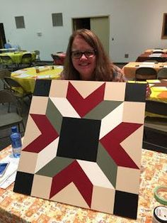 Sewing Quilts I'm not real sure when my love of barn quilts began, but I know I usually scream out 'BARN QUILT!' every time I spot one on a road trip. Barn Quilt Designs, Barn Quilt Patterns, Quilting Designs, Quilting Projects, Star Quilts, Quilt Blocks, Mini Quilts, Barn Signs, Pub Signs
