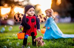 """So...Z knows what she's gonna be for Halloween! I think she makes the most perfect Lady Bug, don't you? And swipe to see Z with her antennae and her friend's amazing alien costume. I so love this time of year.... You can get these patterns for free with today's """"Freebie Friday"""" through @pixiefaire!"""
