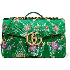 Gucci GG Marmont Maxi quilted floral-jacquard shoulder bag ($3,100) ❤ liked on Polyvore featuring bags, handbags, shoulder bags, green, quilted chain shoulder bag, summer purses, floral handbags, gucci handbags and chain shoulder bag