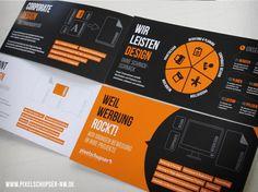 Weil Werbung. Orange, black and white