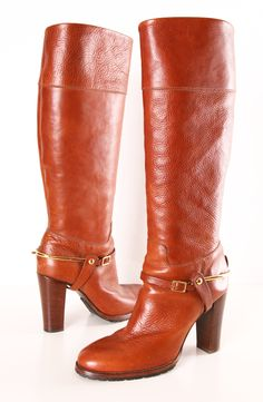 Ralph Lauren Stack Heel Harness Boot - Crafted in Italian leather, this Ralph Lauren boot evokes classic style. A sleek, elegant, and the perfect addition to your wardrobe!  Luxurious boots in cognac-colored leather in a harness riding boot style.