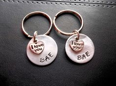 Gift for boyfriend, BAE, couple, keychains, personalized gift ideas, hand stamped jewelry, gifts under 50, stocking stuffers, cute keychains