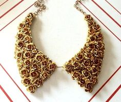 Metal Oxford Collar Bib Necklace with Gold Aluminum Flowers. $82.00, via Etsy.