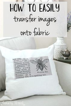 How To Easily Transfer Images Onto Fabric - Mod podge - How to easily transfer images onto fabric- canarystreetcraft…. Make these easy DIY throw pillows - Diy Throws, Diy Throw Pillows, Stenciled Pillows, How To Make Pillows, Couch Pillows, Fun Crafts, Diy And Crafts, Arts And Crafts, Crafts To Make And Sell Unique