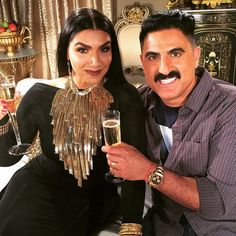 Asa and my fav Reza from Shahs of Sunset Omg that necklace!....Asa Soltan Rahmati: Shooting with my boo. My epic necklace is from AsaKaftans.com.