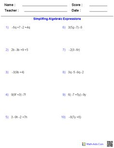 Awesome These dynamically created Pre Algebra Worksheets allow you to produce algebraic expressions worksheets from Variables and Expressions Worksheet Translating Algebraic Expressions, Simplifying Rational Expressions, Simplifying Algebraic Expressions, 10th Grade Math Worksheets, Printable Math Worksheets, Kids Math Worksheets, Math Activities, Radical Expressions, Math Expressions