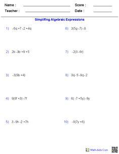 Simplifying Variables Worksheets