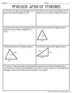 Area of Triangles Notes by To the Square Inch- Kate Bing Coners | Teachers Pay Teachers