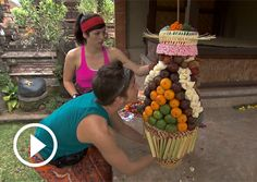 Joey and Meghan finishing a challenge in Bali during the Amazing race!