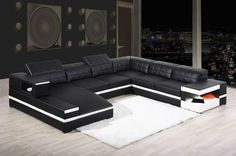 Modern Leather Sectional Sofa - 1201 - Modern Sofas - Living Room