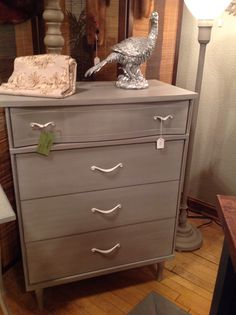 Chest of drawers done in French Linen Chalk Paint® with a white glaze and white wax®.