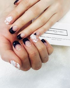 SeeThrough Flowers & Navy French Nail Art From. Bloomingnails