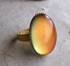 Mood Ring  Large Oval in Matte Gold by AshleySpatula on Etsy, $17.50