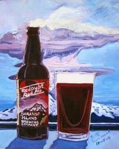 Beer Painting of Redoubt Red Ale by Baranof Island Brewing Co. Year of Beer Paintings by Scott Clendaniel - Day 292.