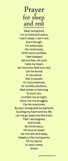 Prayer for sleep & rest
