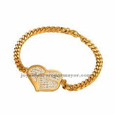 brazalete de dorado con dije corazon cristal especial en acero inoxidable-SSBTG072733