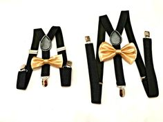 Gold bow ties/suspenders for boys Rustic Wedding Bow tie and Suspenders Gold Baby Bow tie Black Suspenders Set Braces for ring bearers by DreamsareMagic on Etsy Ring Bearer Suspenders, Groomsmen Suspenders, Suspenders For Kids, Bowtie And Suspenders, Ring Bearer Outfit, Bowties, Wedding Suspenders, Navy Blue Bow Tie, Gold Bow Tie