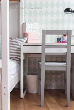 bright and friendly kids room. harlekin wallpaper from ferm living . Working space