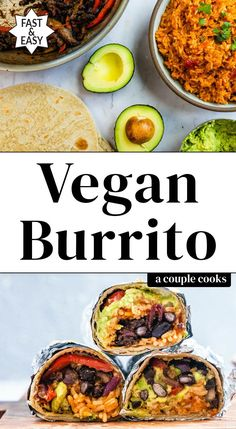 The ultimate vegan burrito! A flavor-packed plant based lunch or dinner idea it's stuffed with Mexican rice seasoned black beans and peppers and avocado. Vegan Mexican Recipes, Vegetarian Mexican, Vegetarian Recipes, Cooking Recipes, Healthy Recipes, Ethnic Recipes, What's Cooking, Yummy Recipes, Free Recipes
