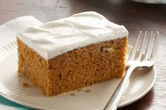 Add delicious fall flavor to a pumpkin spice cake with brown sugar frosting. Pumpkin Spice Cake with Brown Sugar Frosting features the perfect amount of sugar, spice and everything nice—plus delicious cream cheese. Spice Cake Mix, Pumpkin Spice Cake, Pumpkin Dessert, Pumpkin Fluff, Pumpkin Cakes, Pumpkin Mousse, Spiced Pumpkin, Pumpkin Bread, Frosting Recipes