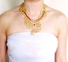 dark blond gold lace necklace copper chain beaded by artsgifts, $18.99