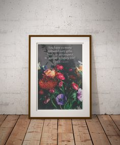 "Inspirational Wall Art, Lousia May Alcott, Floral Wall Art, Motivational Wall Art, Encouragement Gift, Encouraging Quotes, Graduation Gift   "" You have so many extraordinary gifts. How can you expect to live an ordinary life?"" - Louisa May Alcott Little Women"