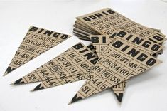 Love this Bingo Pennant Banner made from old Bingo cards.