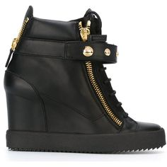 Giuseppe Zanotti Design Wedge Hi-Top Sneakers (2.020 BRL) ❤ liked on Polyvore featuring shoes, sneakers, black, high wedge sneakers, black leather high tops, leather sneakers, black wedge shoes and giuseppe zanotti sneakers
