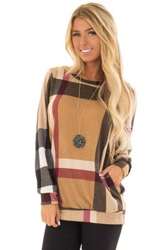003083125db Lime Lush Boutique - Camel Long Sleeve Plaid Top with Side Pockets, $39.99  (https