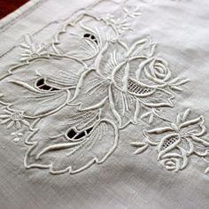 Vintage Linen White Runner Dresser Scarf Madeira Hand by KerryCan