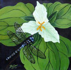 Dragonfly & Trillium 11 x 11 PRINT  flower by ReneeThompsonDesigns, $25.00